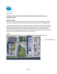 Construction Notice: in-water pipes East Bayfront