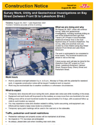 Notice of Survey Work, Utility and Geotechnical Investigations on Bay Street