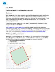 York Street Park Construction Notice - Waterfront Toronto