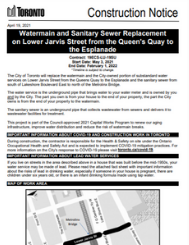 Lower Jarvis Sanitary Sewer Replacement Construction Notice