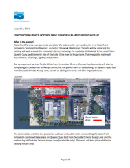 DOCKSIDE DRIVE PUBLIC REALM AND QUEENS QUAY EAST CONSTRUCTION NOTICE